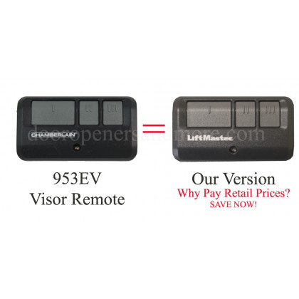 Chamberlain 953EV 3 Button Visor Remote Control MyQ, 371LM, 971LM, and 81LM compatible