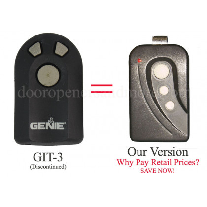 Genie GIT-1 GIT-3 390 MHz Intellicode Compatible 3 Button Visor Transmitter GT-30