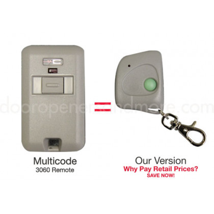 Multi Code 3060 Compatible 300 MHz Single Button Mini Key Chain Garage Door Remote Control