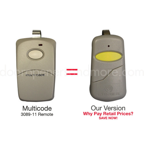 Multi Code 3089 Compatible Slim Garage Door Opener Remote