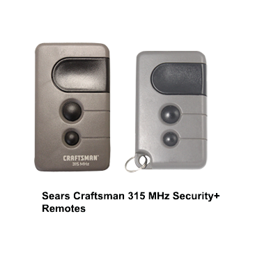 Sears Craftsman 315 MHz Security+ Remotes