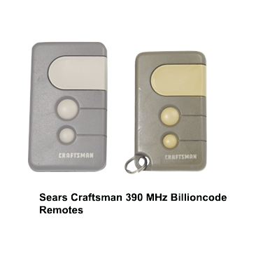 Sears Craftsman 390 MHz Billioncode Remotes